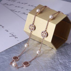 ★Tory Burch gold crystal pearl chain necklace★